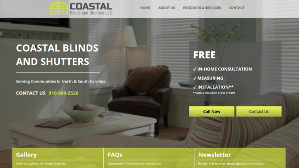 Coastal Blnds and Shutters website